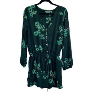 Honey Punch Large Green Floral Flowy Romper